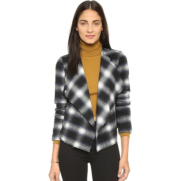 BB Dakota Jackets & Blazers - BB Dakota Quinn Plaid Moto Jacket Blue/Black Sz XS